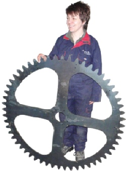 large gear cog wheel waterjet cut from steel plate