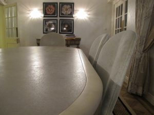 4mm thick large format porcelain tile inlaid into dining table top