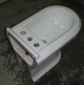 Drilling holes in bidet with waterjet cutting