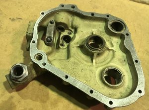 Steel gasket fittd to the old engine case after waterjet cutting