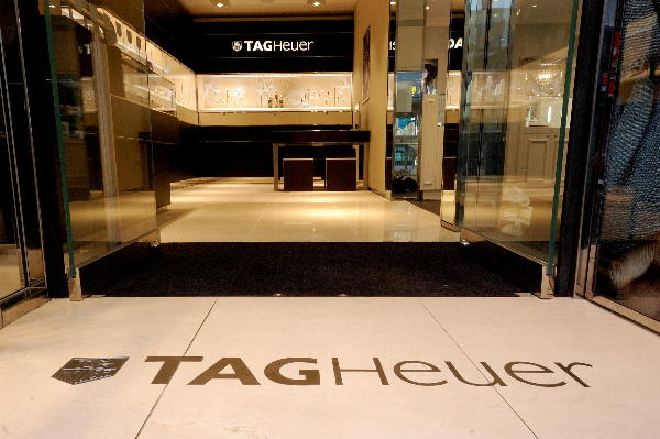 Tag heuer logo in boutique entrance at beaverbrooks jewellers leeds