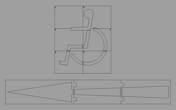 Cad layout for extra large carpark stencils