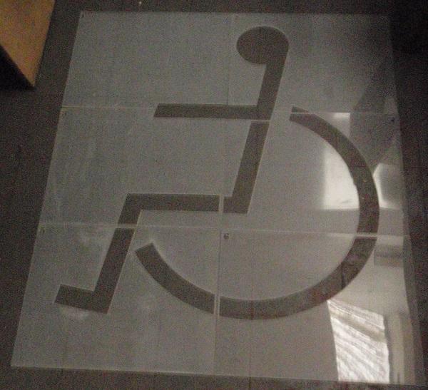 Disabled emblem large floor paint stencil
