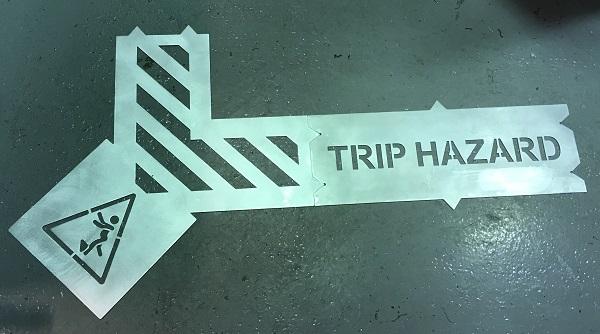 Hazardous area clip together stencil assembled