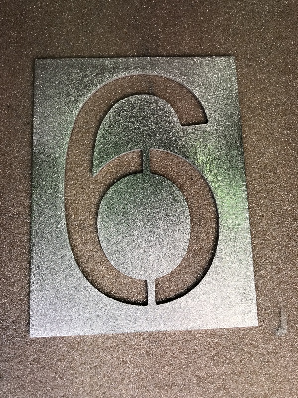 Number 6 large 150mm stencil