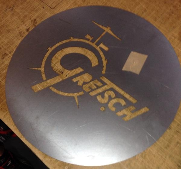 gretsch drum stencil cut into steel plate