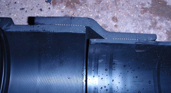 nupi smartflex pipe split in two close up of welded joint
