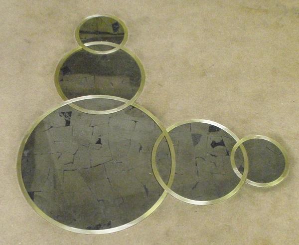 pyrite and bronze inlays
